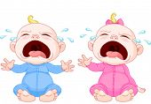 Cute crying baby twins