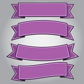 Set Of Purple Ribbon Banners
