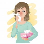 stock photo of hay fever  - Watery eyed woman hodling facial tissue box - JPG