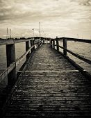 Old wooden pier, black and white