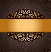Abstract Brown Background With Exclusive, Antique, Luxury, Vintage, Gold Frame, Creative Ornamental