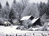Farm House In Snow