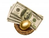 Golden Egg With Money Isolated On White