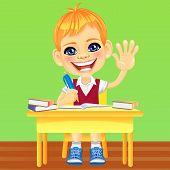 Vector Happy Smiling Schoolboy