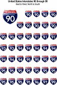 United States Interstates 90 Through 99