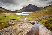 Landscape Over Llyn Idwal Towards Pen-yr-ole-wen In Snowdonia National Park