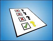 eine Liste der Fragezeichen mit der richtigen und falschen Tick-Box gegen Sie