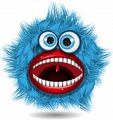 stock photo of tooth-fairy  - illustration fairy shaggy blue monster with blue eyes - JPG