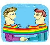Happy Gays Couple With Hands Together.vector Cartoons Image