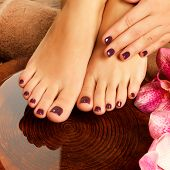 image of toe nail  - Closeup photo of a female feet at spa salon on pedicure procedure - JPG