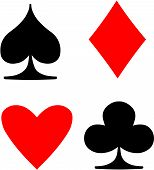 The Playing Card Suits; spade, diamond, heart, club.