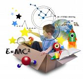 Science Boy in Space Box with Stars