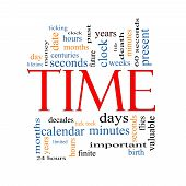 foto of tick tock  - Time Word Cloud Concept with great terms such as day hours minutes clock date seconds and more - JPG