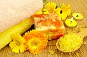 Soap and bath salt with calendula