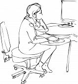 sketch a girl sits and works at the computer