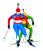 Two biathlon runners at the competition