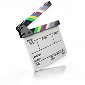 Hollywood Clapper Board, isolated on white