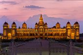Mysore Palace glowing at twilight time