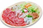 foto of shabu  - set of fresh pork slices for Sukiyaki - JPG