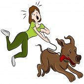 stock photo of dog-walker  - An image of a woman trying to walk her dog - JPG