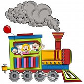 An image of a children riding on a train.