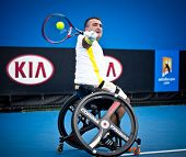 MELBOURNE - JANUARY 26: Runner-ip Stephane Houdet of France in the meens wheelchair final at the 2013 Australian Open on January XX, 2013 in Melbourne, Australia.