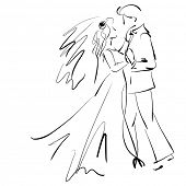 art sketching beautiful young  bride and groom in dance on white background. Vector version is also