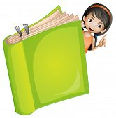 stock photo of childrens literature  - Illustration of a girl and a book on a white background - JPG