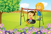 pic of tire swing  - Illustration of kids playing swing in garden - JPG