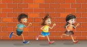Illustration of kids running in front of wall