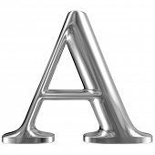 Metal Letter A from chrome solid alphabet.