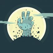 Vector illustration of zombie hand rising from the grave, Halloween theme