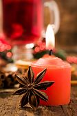 stock photo of clos  - Red Candle and Christmas spices clos - JPG