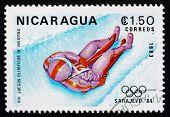 Postage Stamp Nicaragua 1983 Luge, 14Th Winter Olympics, Sarajev
