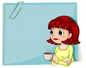 Illustration of a woman with a cup of coffee with an empty paper at the back on a white background