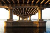 picture of dnepropetrovsk  - night bridge on dnepr river in Dnepropetrovsk - JPG