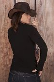 Woman Cowgirl Wooden Wall Back Fingers Hat