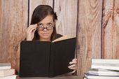 Woman White Dress Office Book Glasses Book Up