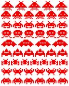 Red Silhouettes Of Space Invaders
