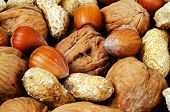 Mixed nuts food background.