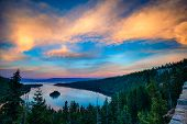 stock photo of angle  - High angle view of a lake Lake Tahoe Sierra Nevada California USA - JPG