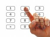 Finger Push A Telephone Number Button