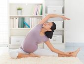 foto of southeast asian  - Pregnancy yoga meditation - JPG