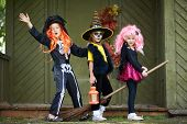 image of warlock  - Portrait of three Halloween girls with broom looking at camera outside - JPG