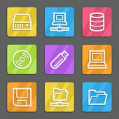 Drives and storage web icons, color flat buttons