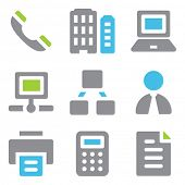 Office web icons blue green series