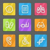 Medicine web icons set 2, color flat buttons