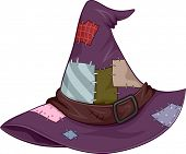 Illustration of a Tattered Witch Hat Covered in Patches