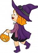 Halloween Illustration of a Little Girl Dressed as a Witch Carrying a Trick or Treat Bag