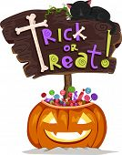 Halloween Illustration of a Signboard Saying Trick or Treat Sitting on a Jack-o'-Lantern Filled with